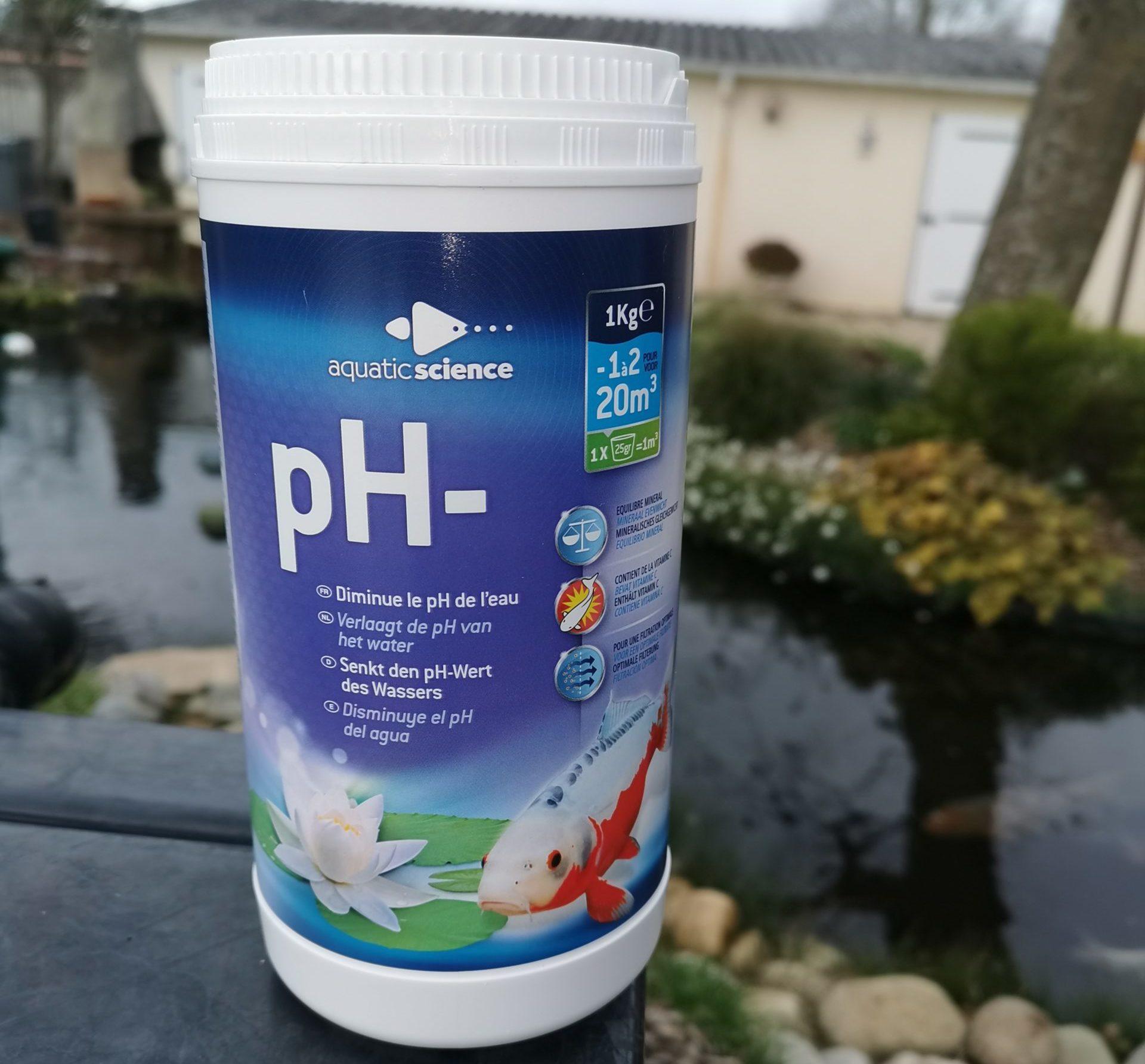 PH- – diminue le pH de l'eau